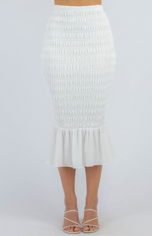 Shirred Midi Skirt - White
