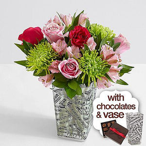 All The Frills with Music Vase & Chocolates