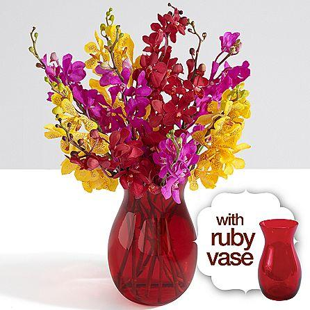 Mokara Orchids with Ruby Vase
