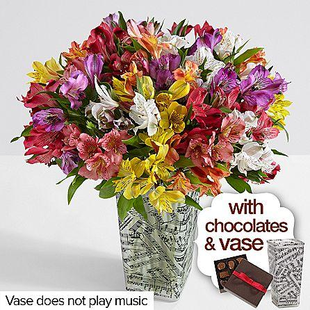 100 Blooms of Peruvian Lilies with Music Vase & Chocolates
