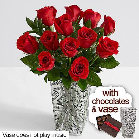 One Dozen Long Stemmed Red Roses with Music Vase & Chocolates