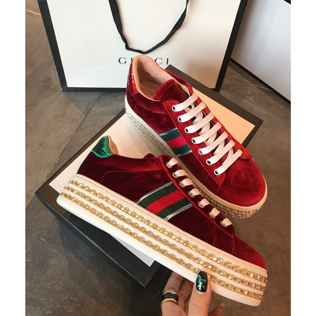 9e03402b116 GUCCI ACE PLATFORM VELVET RED SNEAKER WITH CRYSTALS – BoujeeBallin