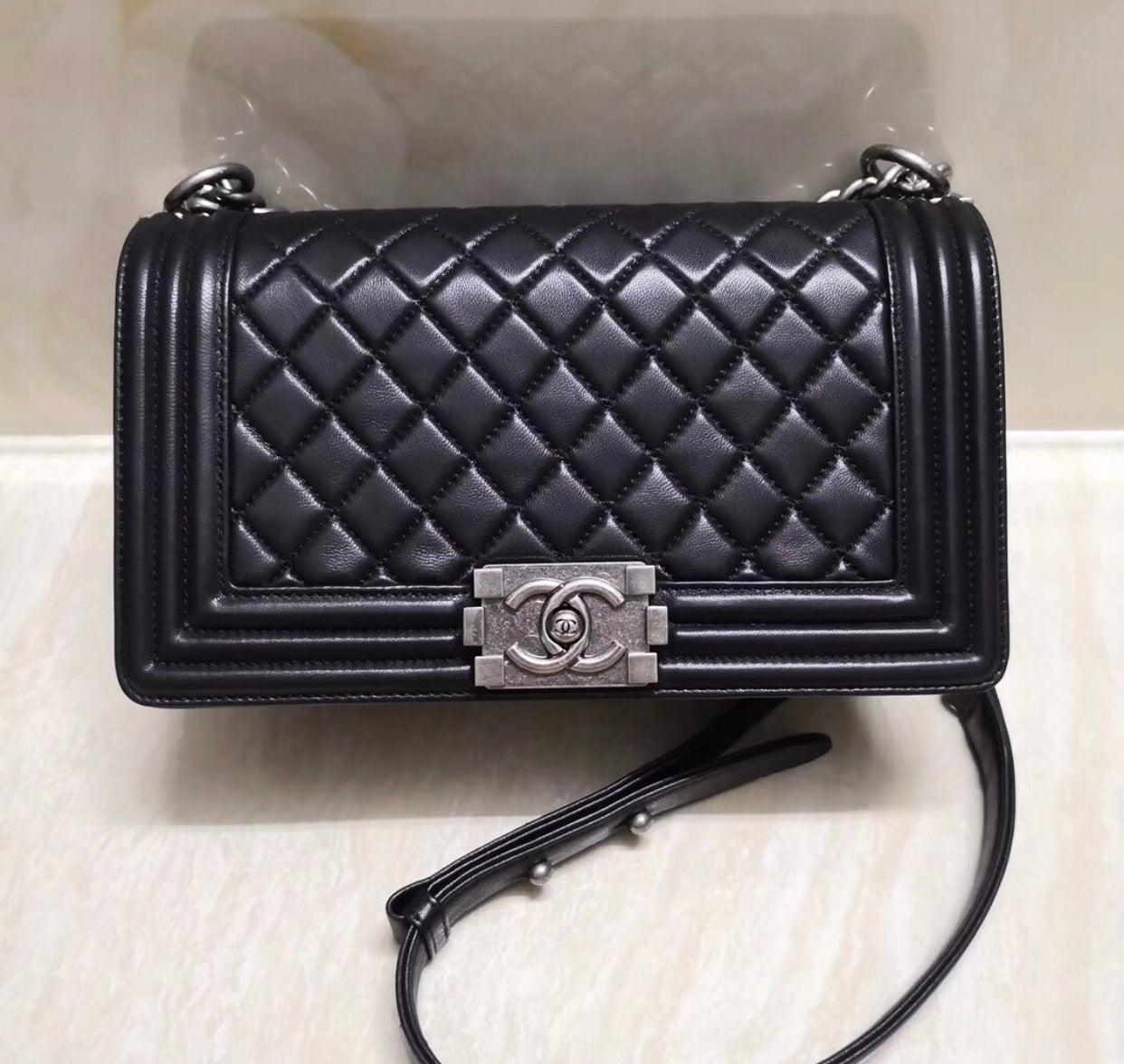 b46847c9aae1 CHANEL BLACK SILVER HARDWARE BOY BAG – BoujeeBallin'