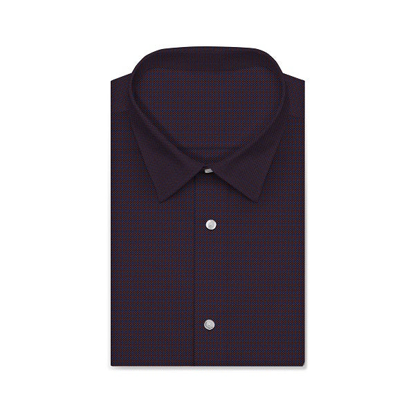 MORRIS Midnight Red Navy Houndstooth Short/Long Sleeve Custom Heavy Cotton Shirt
