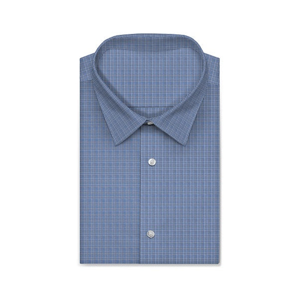 SATEN Light Blue White Plaid Checkered Short/Long Sleeve Custom Cotton Shirt