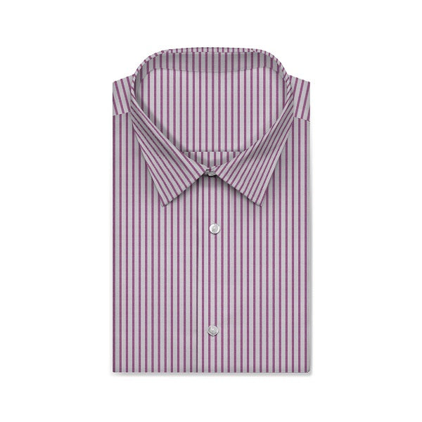 CENTURY Dark Pink Fine Stripe Short/Long Sleeve Custom Cotton Shirt
