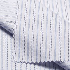 BULL White Blue Fine Striped Short/Long Sleeve Custom Cotton Shirt