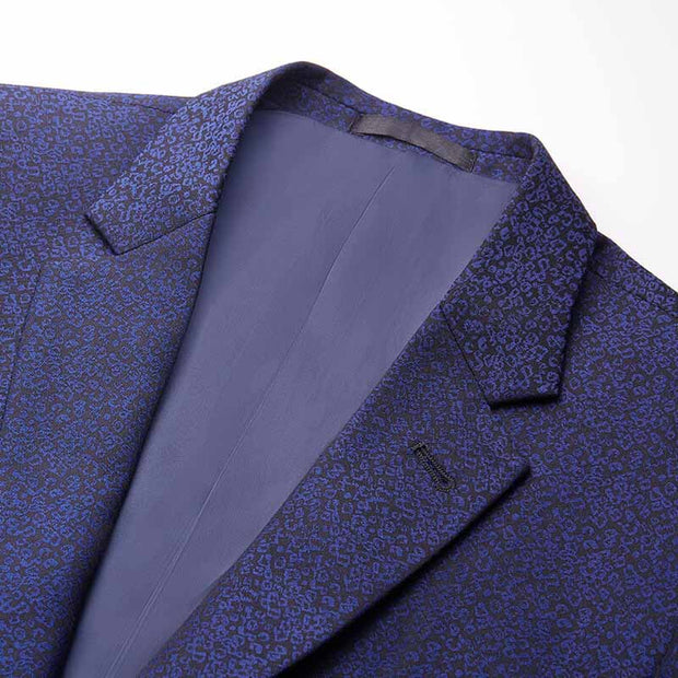 Midnight Blue Motley Houndstooth Heavy Weight Tailored Fit Customized Blazer