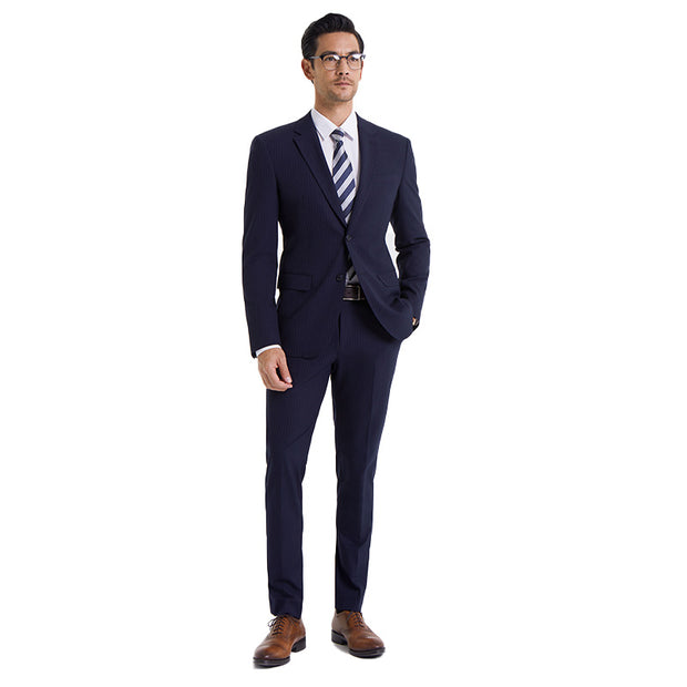 Navy Stripe Easy Care Tailored Fit Customized Suit Set