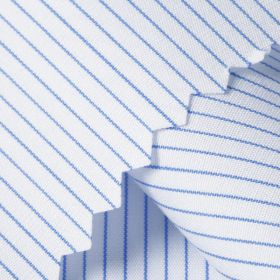 PUPPIS Luxury White Blue Fine Stripe Short/Long Sleeve Custom Silk Cotton Shirt