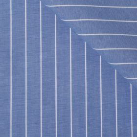 MONTEREY Deep Blue White Stripe Short/Long Sleeve Custom Cotton Shirt