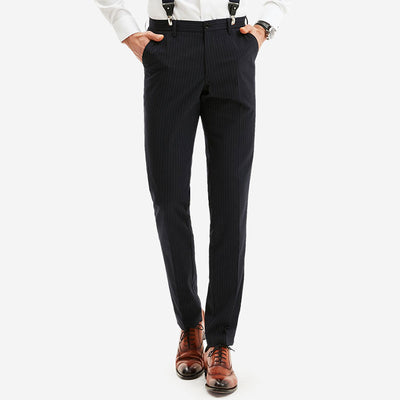 Dull Black Stripe Stretch Fabric Customized Pants