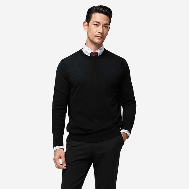 Black Round Neck Wool Sweater