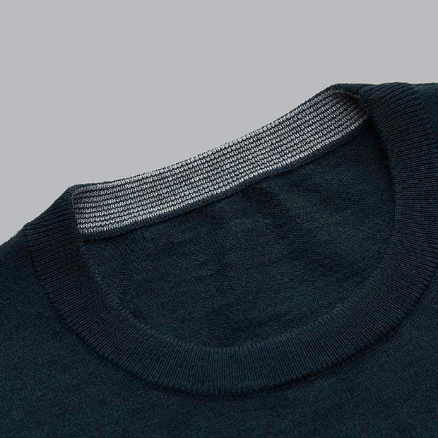 Sap Green Round Neck Wool Sweater