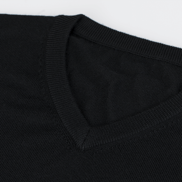 Black V-Neck Ultra Wool Sweater