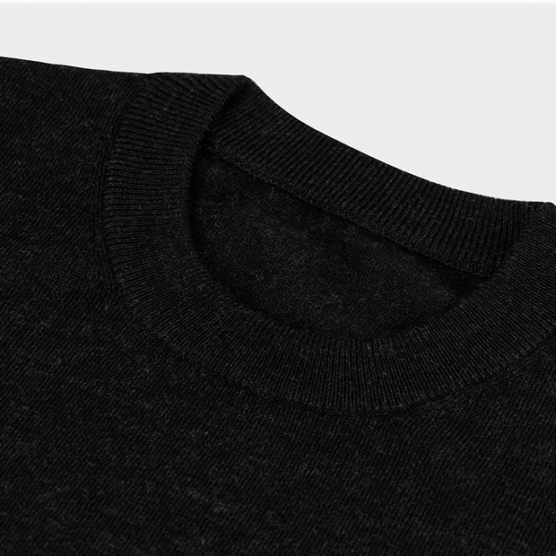 Grey Black Round Neck Ultra Wool Sweater