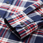 Buchanan Navy & Red Check Flannel Cotton Customized Dress Shirt