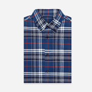 Gatsby Blue & Red Check Flannel Cotton Customized Dress Shirt