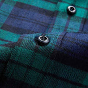 Wilson Navy & Green Check Flannel Cotton Customized Dress Shirt