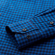 Ultra Warmth Sapphire Blue Black Check Wool Blended Customized Dress Shirt