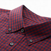 Ultra Warmth Ruby Red Black Check Wool Blended Customized Dress Shirt