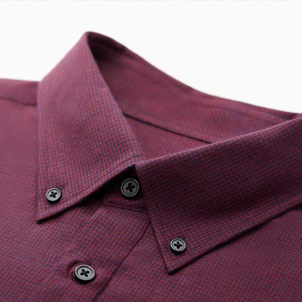 Ultra Warmth Ruby Red Black Mini Check Wool Blended Customized Dress Shirt