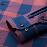 Ultra Warmth Red Navy Wide Check Wool Blended Customized Dress Shirt