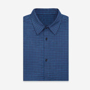 Ultra Warmth Sea Blue Mini Check Wool Blended Customized Dress Shirt