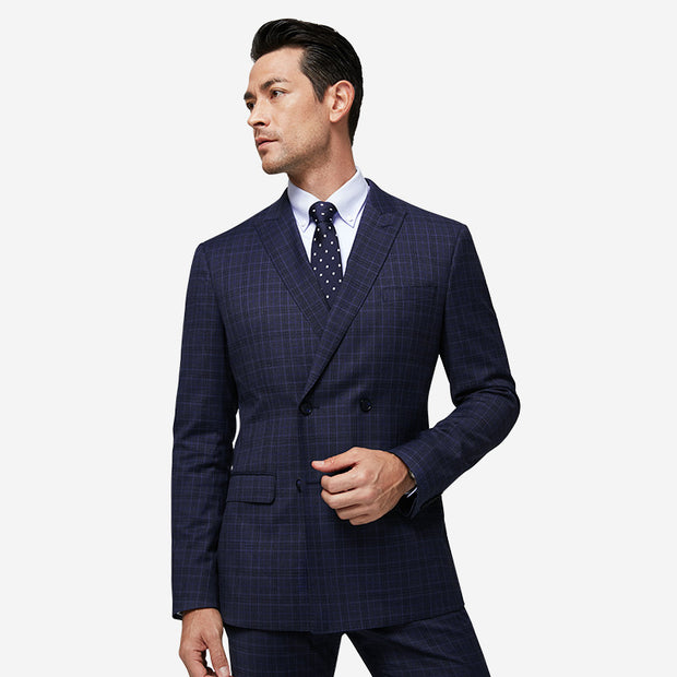 Dark Blue Check Easy Care Tailored Fit Customized Blazer (Suit Set Available)