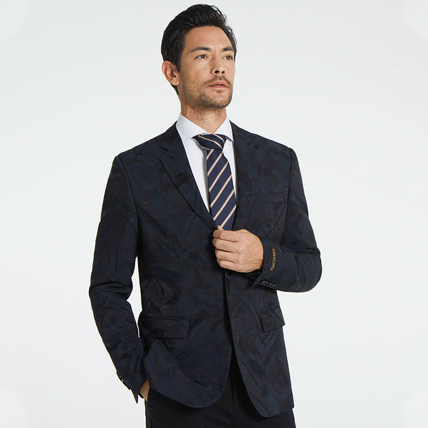 Dark Navy Motley Pattern Heavy Weight Tailored Fit Customized Blazer