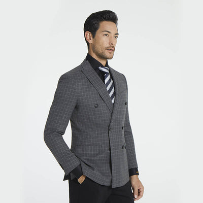 Castle Grey Check Pattern Easy Care Tailored Fit Customized Blazer