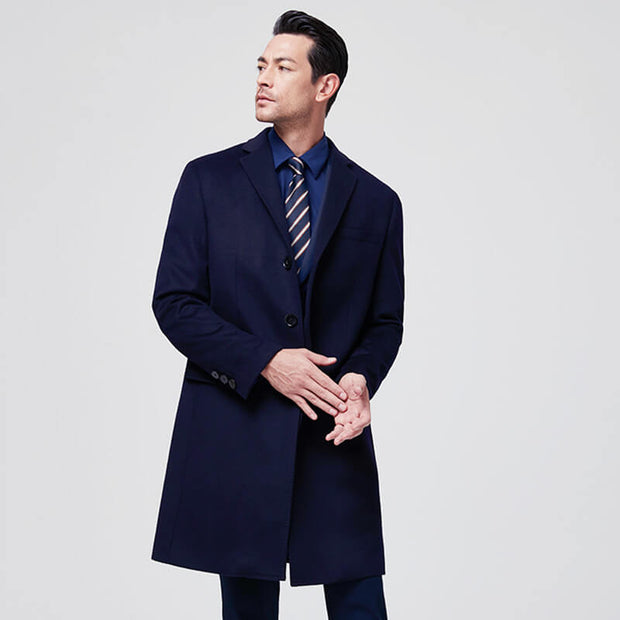 Dark Navy Luxury Wool & Cashmere Tailored Fit Customized Overcoat