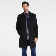 Black Stand Collar Wool & Cashmere Tailored Fit Customized Overcoat