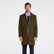 Olive Green Stand Collar Wool & Cashmere Tailored Fit Customized Overcoat
