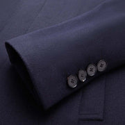 Dark Navy Stand Collar Wool & Cashmere Tailored Fit Customized Overcoat