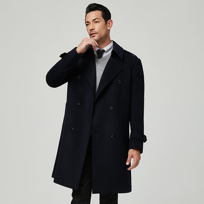 Dark Navy Wide Lapel 100% Wool Tailored Fit Customized Overcoat