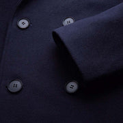 Dark Navy Wide Lapel 100% Wool Tailored Fit Customized Overcoat (Short)