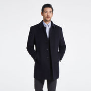 Black Lapel Wool Blended Tailored Fit Customized Overcoat