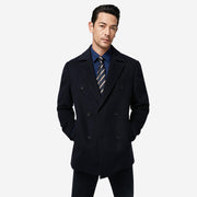 Dark Navy Lapel Wool Blended Tailored Fit Customized Overcoat