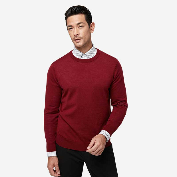 Venetian Red Round Neck Wool Sweater