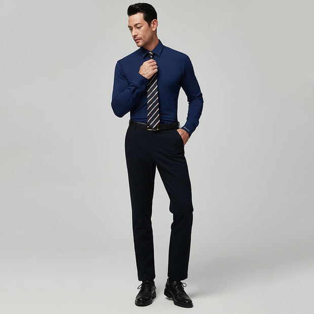 Navy Blue Super Stretch Knitted Cotton Customized Dress Shirt