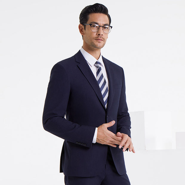 Navy Stripe Easy Care Tailored Fit Customized Blazer (Suit Set Available)