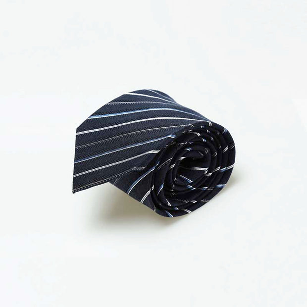 Wool & Silk Navy Blue Stripe Tie