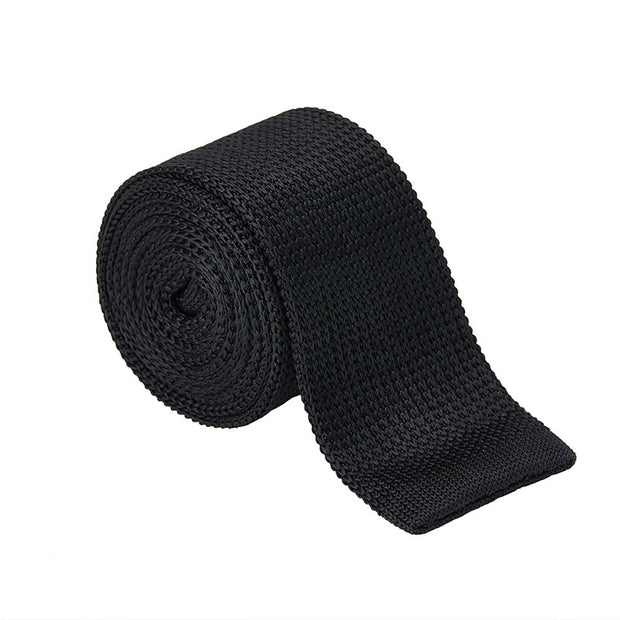 Knitted Black Silk Mini Houndstooth Tie