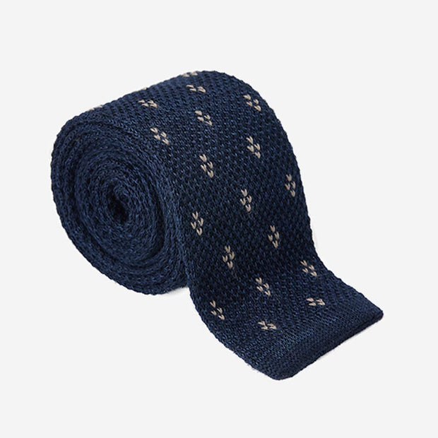Knitted Dark Navy Silk Flowery Print Tie