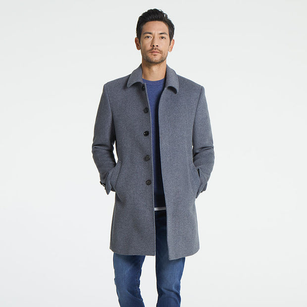 Smoky Grey Lapel Wool Blended Tailored Fit Customized Overcoat