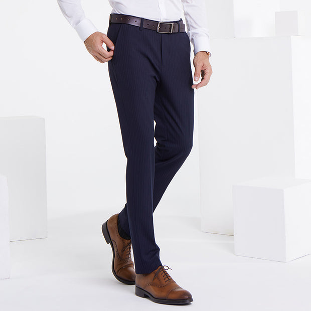 Navy Stripe Easy Care Tailored Fit Customized Pants