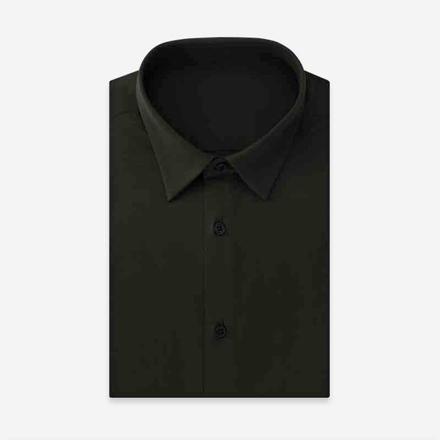 Rosin Green High Count Knitted Cotton Customized Dress Shirt