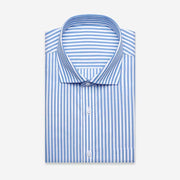 Non-Iron Blue White Stripe Cotton Customized Dress Shirt