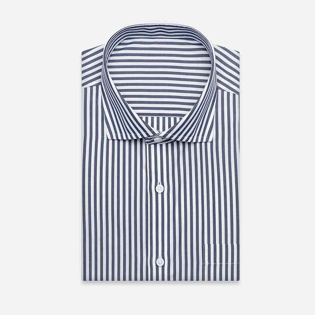 Non-Iron Navy White Stripe Cotton Customized Dress Shirt